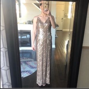 Adrianna Papell gold sequin formal long dress